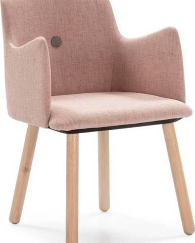 Růžová jídelní židle s nohami ze dřeva kaučukovníku Marckeric Aruba