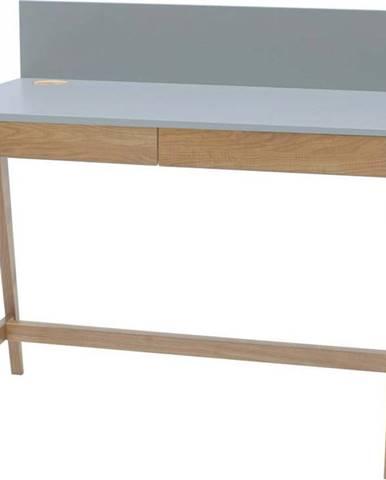 Šedý psací stůl s podnožím z jasanového dřeva Ragaba Luka,délka110cm