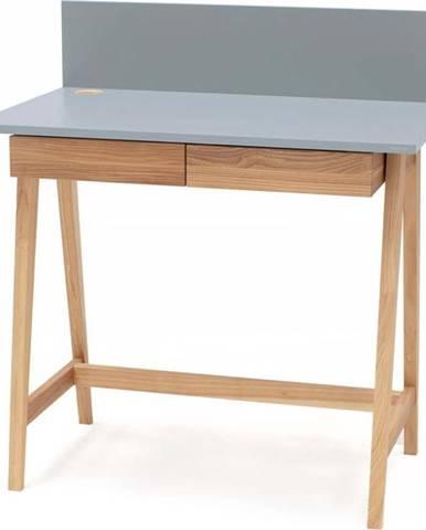 Šedý psací stůl s podnožím z jasanového dřeva Ragaba Luka,délka85cm
