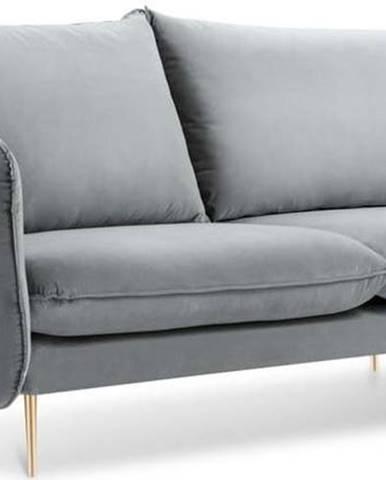 Světle šedá sametová pohovka Cosmopolitan Design Florence, 160 cm