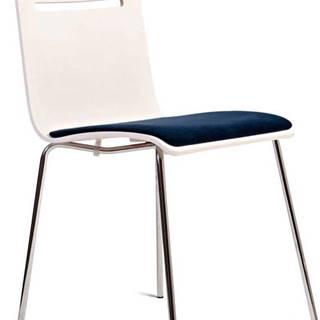 Bílá židle se sedákem z bukového dřeva Charlie Pommier Comfort
