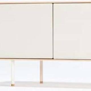 Bílý TV stolek z dubového dřeva Gazzda Fina, šířka 180 cm