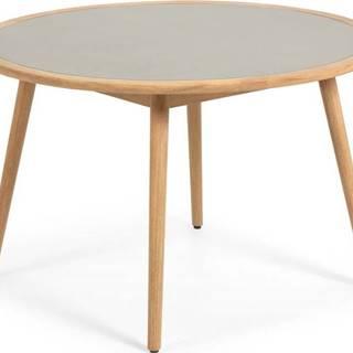 Zahradní stůl z eukalyptového dřeva s betonovou deskou La Forma Glynis Nina, ⌀ 120 cm