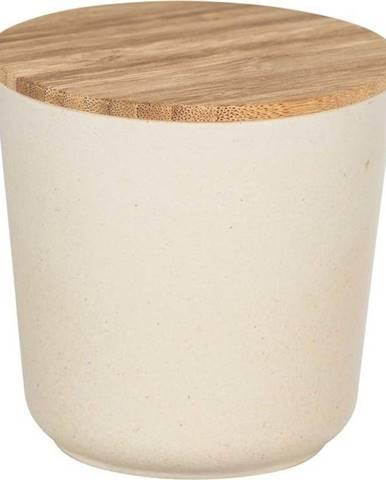 Béžový úložný box s bambusovým víkem Wenko Bondy, 500ml