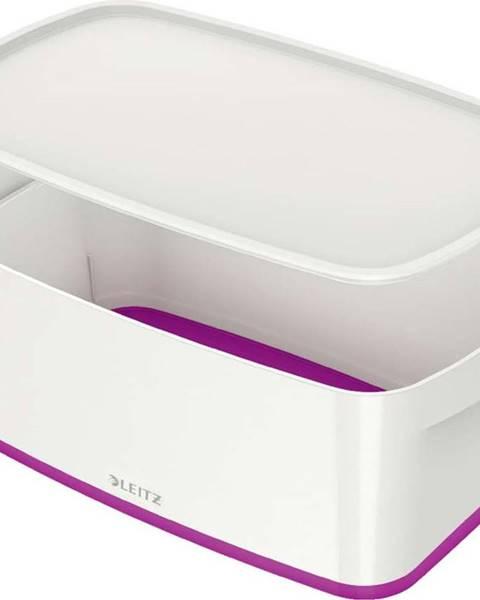 Leitz Bílo-fialový úložný box s víkem Leitz Office, objem 5 l
