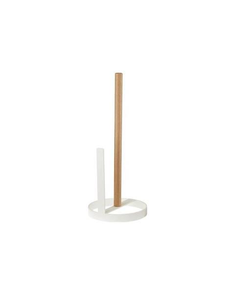 YAMAZAKI Bílý stojánek na roli papírových utěrek s detailem z bukového dřeva YAMAZAKI Tosca