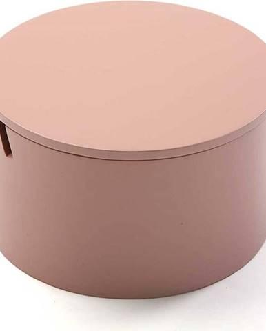 Růžový dřevěný box na šperky Versa Pinky, ø14cm