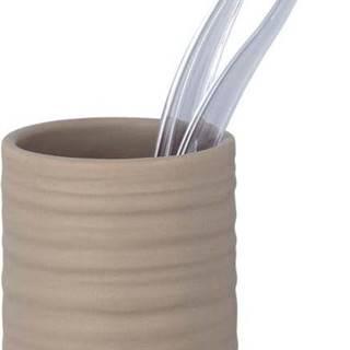 Pískově hnědý keramický kelímek na kartáčky Wenko Mila