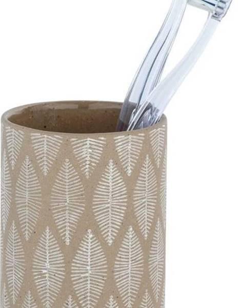 WENKO Béžový keramický kelímek na kartáčky Wenko Tupian
