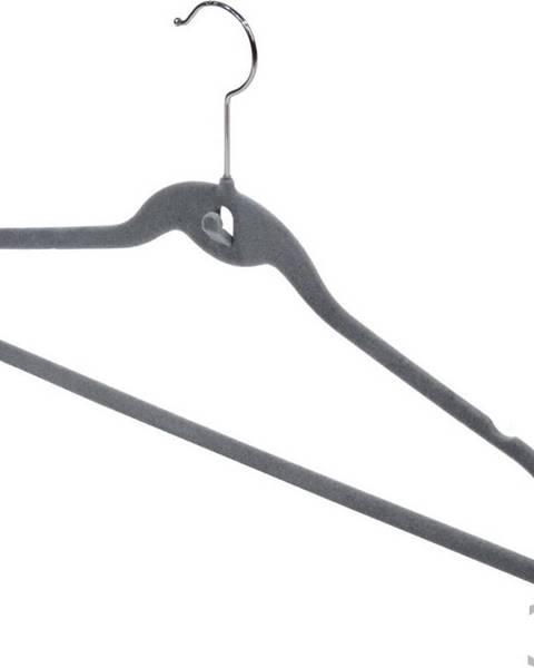 Domopak Sada 3 šedých ramínek se zářezy a kalhotovou tyčí Domopak Velvet