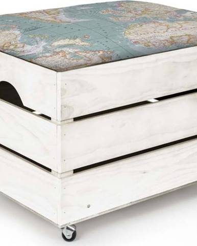 Bílý dřevěný pojízdný úložný box Really Nice Things