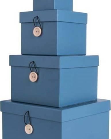 Sada 4 modrých úložných boxů s víkem PT LIVING Uniform