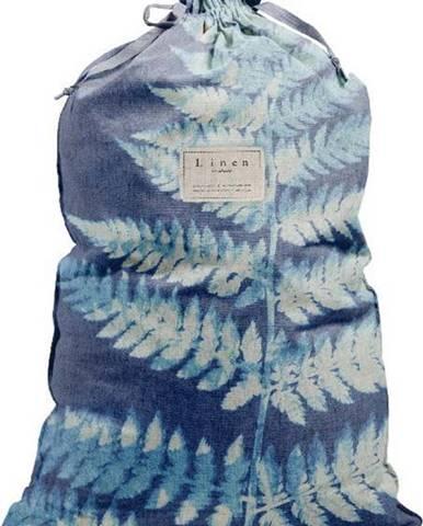 Látkový vak na prádlo s příměsí lnu Linen Couture Bag Blue Leaf, výška 75 cm