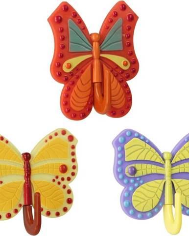 Sada 3 barevných samolepicích háčků Metaltex Butterfly