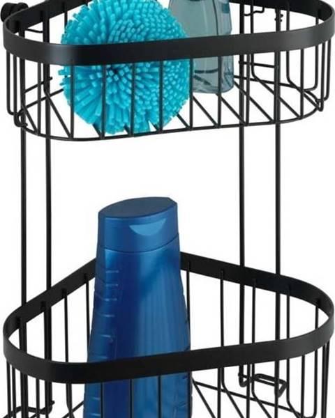 WENKO Černý nástěnný dvoupatrový rohový košík Wenko Classic Plus