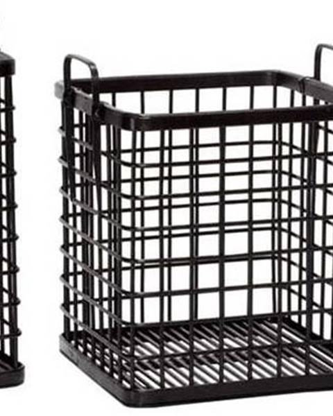 Hübsch Sada 3 černých bambusových úložných košíků Hübsch Terrio