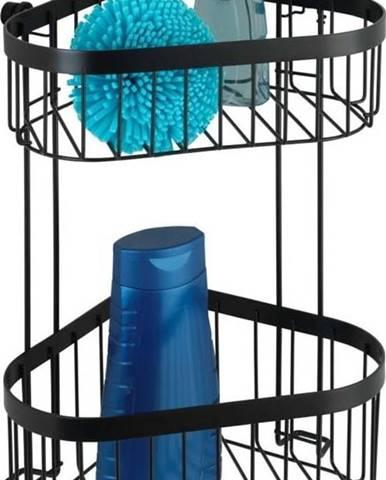 Černý nástěnný dvoupatrový rohový košík Wenko Classic Plus
