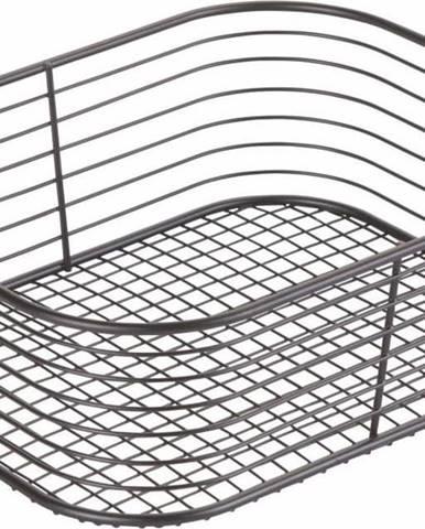 Černý úložný košík iDesign Vienna, 23,8 x 18,4 cm
