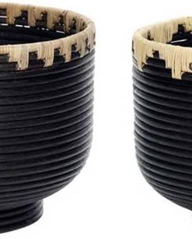 Sada 2 černých ratanových úložných košíků Hübsch Retto Duro
