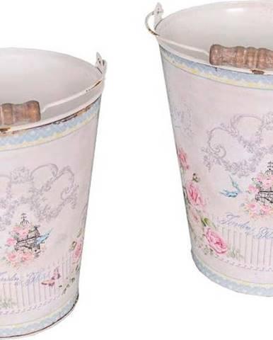 Sada 2 kbelíků Antic Line Vintage Rose