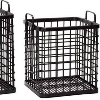 Sada 3 černých bambusových úložných košíků Hübsch Terrio