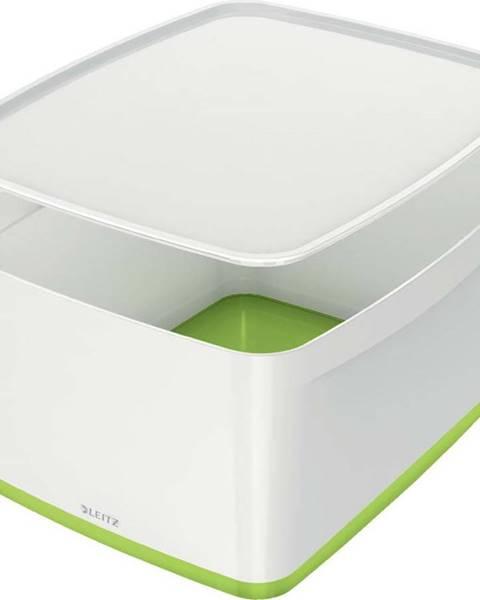 Leitz Bílo-zelený úložný box s víkem Leitz Office, objem 18 l