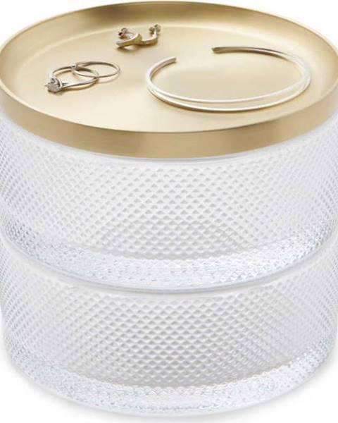 Umbra Skleněná šperkovnice s víčkem ve zlaté barvě Umbra Tesora