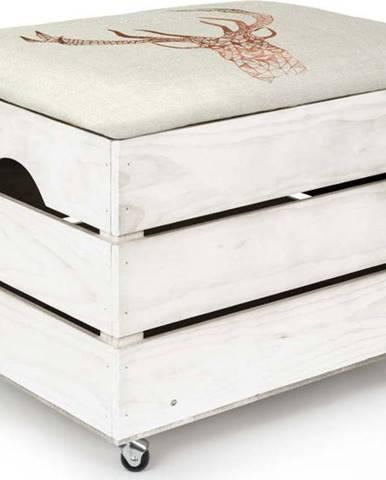 Bílý úložný box se sedátkem Really Nice Things Deer, 50 x 35 cm