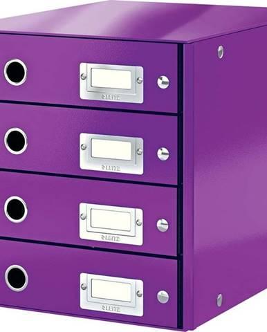 Fialový box se 4 zásuvkami Leitz Office, délka 36 cm