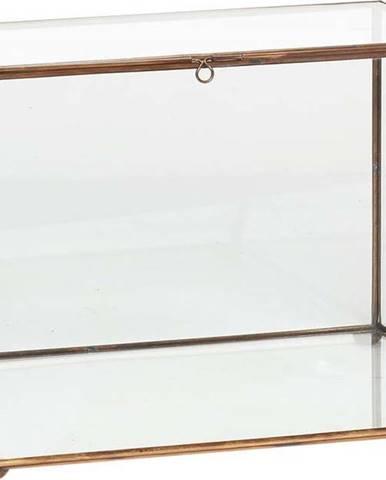 Prosklený úložný box s mosaznými detaily Hübsch Dulio, výška 19 cm
