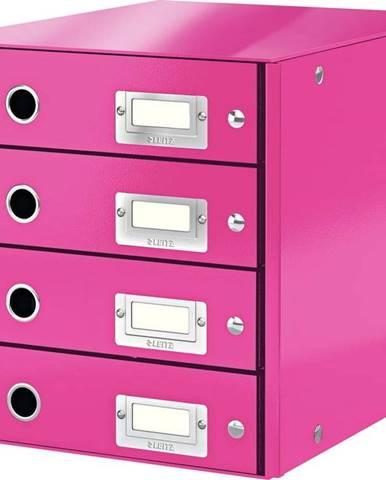 Růžový box se 4 zásuvkami Leitz Office, délka 36 cm
