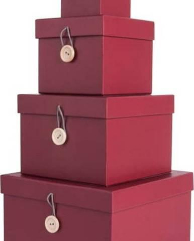 Sada 4 červených úložných boxů s víkem PT LIVING Uniform