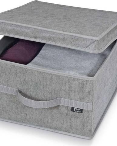 Šedý úložný box Domopak Stone Large, 50x38cm