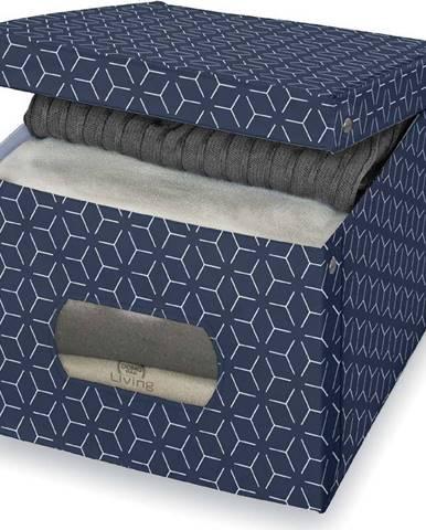 Tmavě modrý úložný box Domopak Metrik Extra Large, 50x42cm
