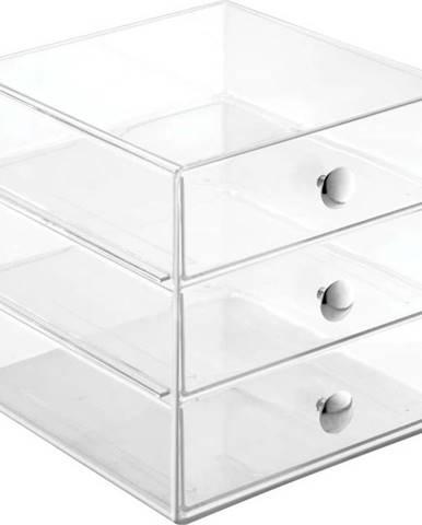 Transparentní úložný box se 3 šuplíky iDesign Original, výška16,5 cm