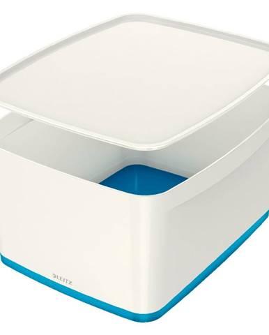 Bílo-modrý úložný box s víkem Leitz Office, objem 18 l