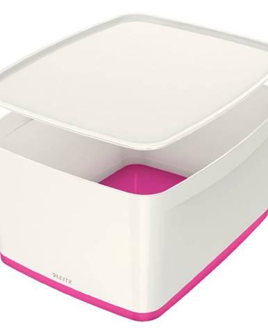 Bílo-růžový úložný box s víkem Leitz Office, objem 18 l