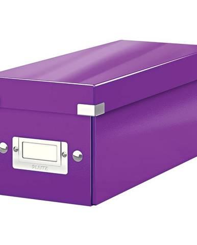 Fialová úložná krabice s víkem Leitz CD Disc, délka 35 cm