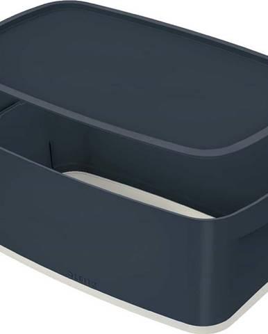 Šedý úložný box s víkem Leitz Cosy, objem 5 l