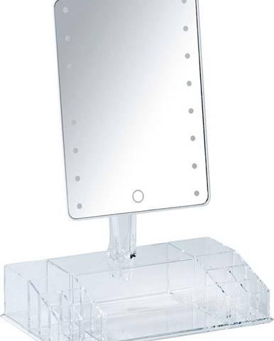 Bílé kosmetické zrcadlo s LED podsvícením a organizérem na make-up Farnese