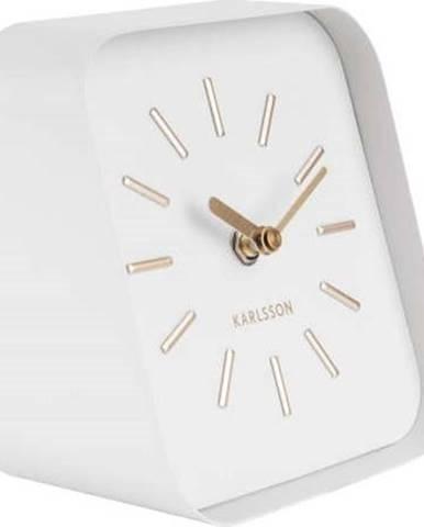 Bílé kovové stolní hodiny Karlsson Squared