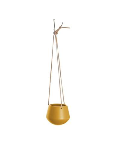 Matně okrově žlutý závěsný keramický květináč PT LIVING Skittle, výška 9,5cm
