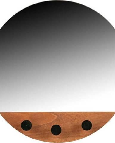 Nástěnné zrcadlo se třemi háčky WOOOD Tyler,ø40cm