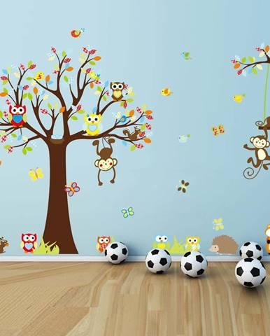 Sada nástěnných dětských samolepek Ambiance Cute Monkeys Playing On Trees