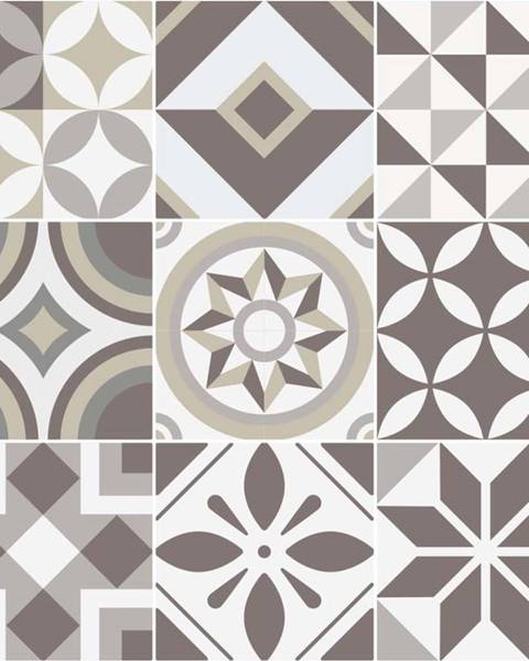 Ambiance Sada 9 nástěnných samolepek Ambiance Tiles Azulejos Geometric, 10 x 10 cm