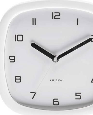 Bílé nástěnné hodiny Karlsson Slides, 29 x 24,5 cm