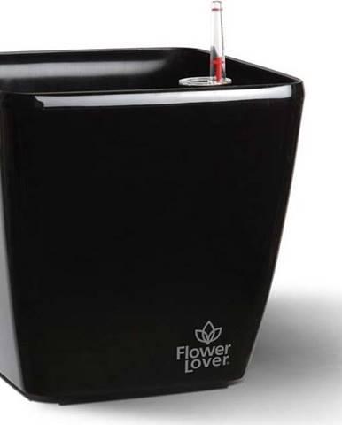 Černý samozavlažovací květináč Flower Lover Quadrato, 34x34cm
