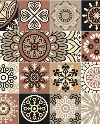 Sada 24 nástěnných samolepek Ambiance Wall Stickers Tiles Piura, 10 x 10 cm