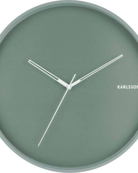 Karlsson Mátově zelené nástěnné hodiny Karlsson Hue, ø 40cm