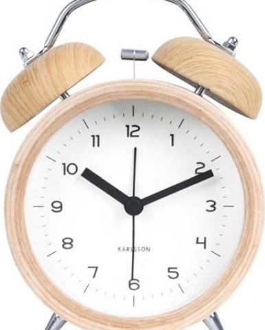 Bílý budík v dřevěném dekoru Karlsson Classic Bell, ⌀10cm